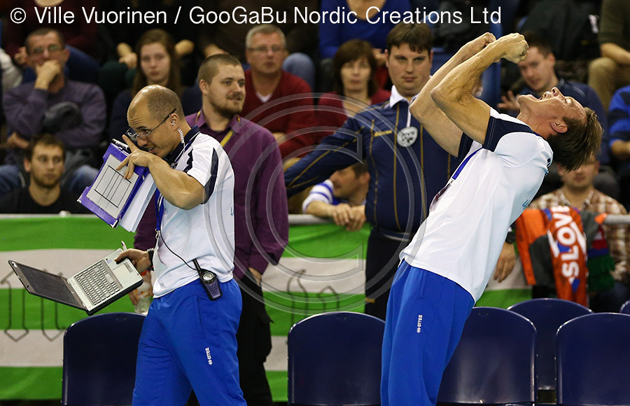 Tuomas Sammelvuo (Finnish Head Coach) - lets out a Lions roar as Finland clinch the place in World Cup 2014.